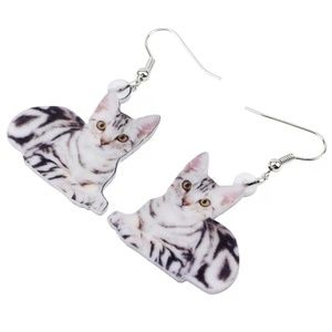 Acrylic Elegant Cat Kitten Dangle Drop Earrings